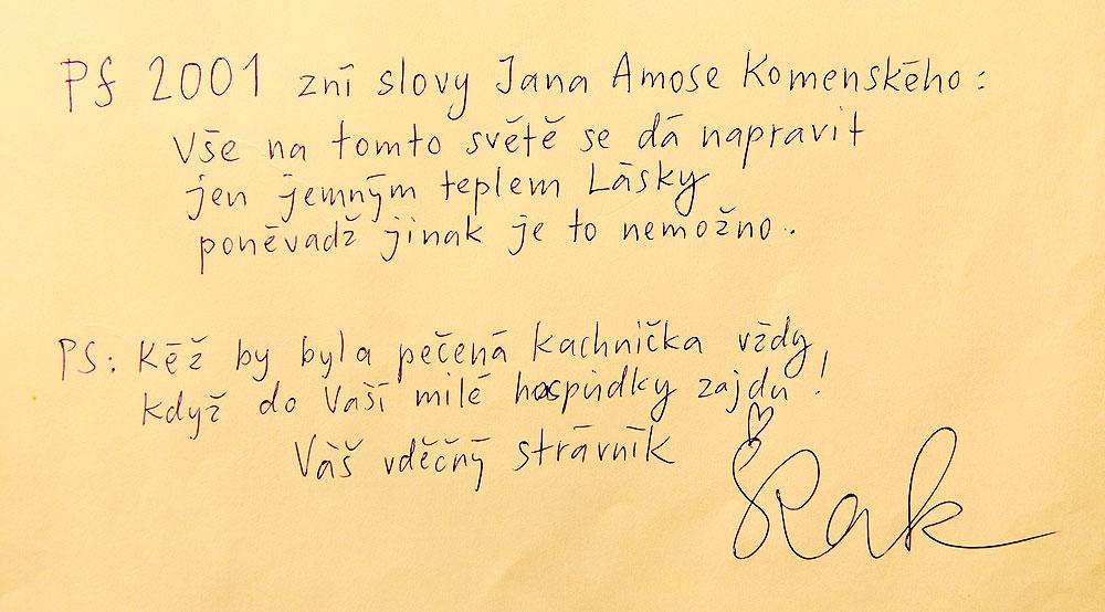 Hospoda Na louži - kniha hostů, Český Krumlov